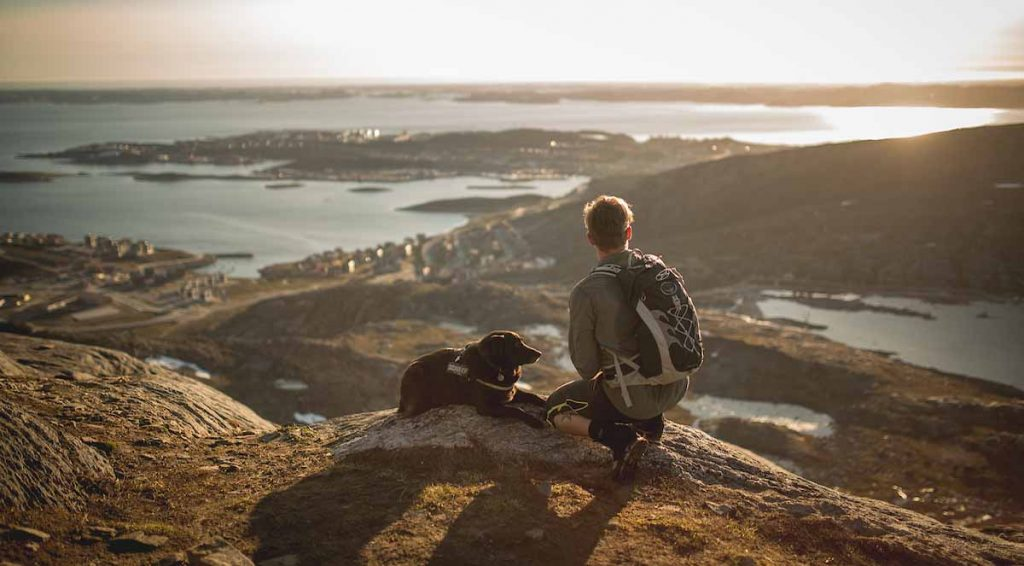 a_traveller_and_his_dog_hiking_and_enjoying_the_city_view_of_nuuk